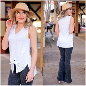 Sleeveless button front tie top